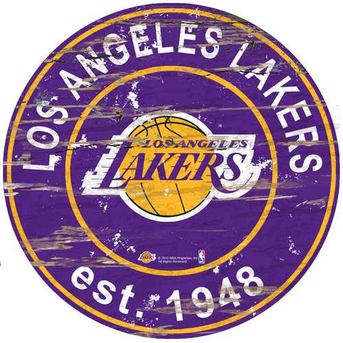 Los Angeles Lakers Sign Wood 24 Inch Round