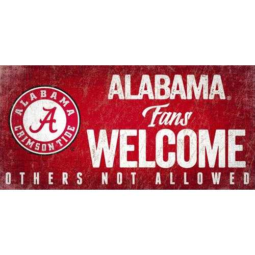 Alabama Crimson Tide Wood Sign Fans Welcome 12x6