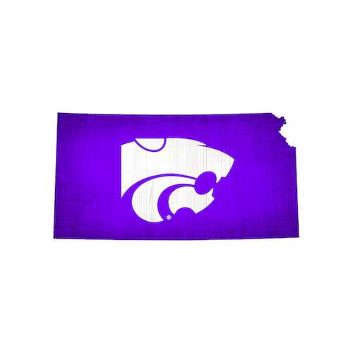 Kansas State Wildcats Sign Wood 12 Inch Team Color State Shape Design Special Order