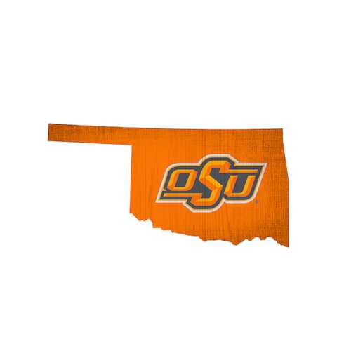 Oklahoma State Cowboys Sign Wood 12 Inch Team Color State Shape Design Special Order
