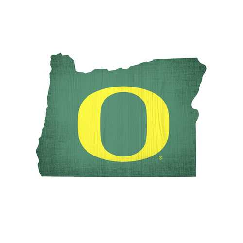 Oregon Ducks Sign Wood 12 Inch Team Color State Shape Design Special Order