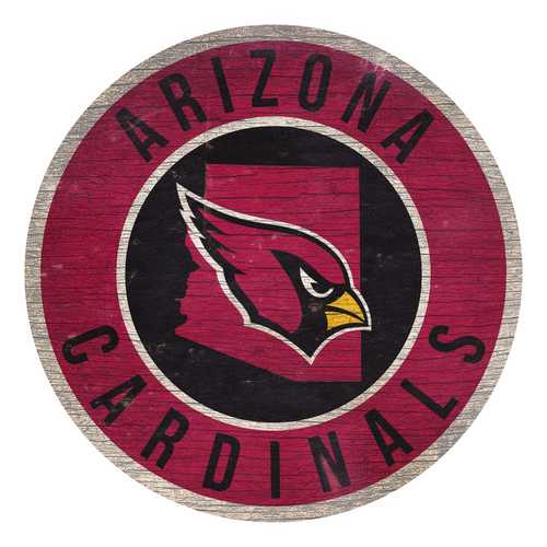 Arizona Cardinals Sign Wood 12 Inch Round State Design