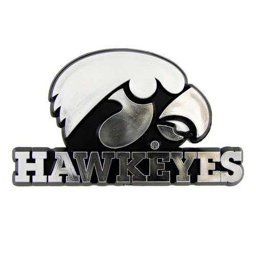 Iowa Hawkeyes Auto Emblem - Silver