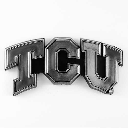 TCU Horned Frogs Auto Emblem Silver Chrome