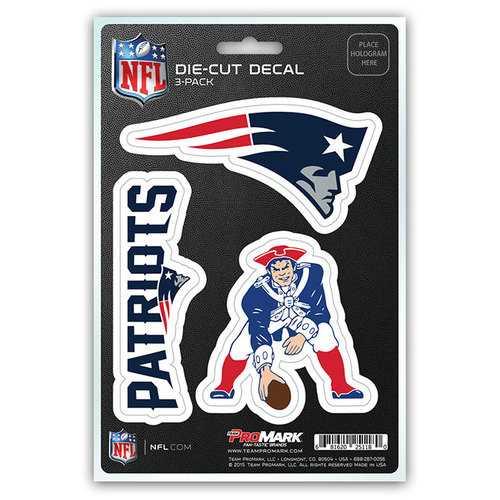 New England Patriots Decal Die Cut Team 3 Pack