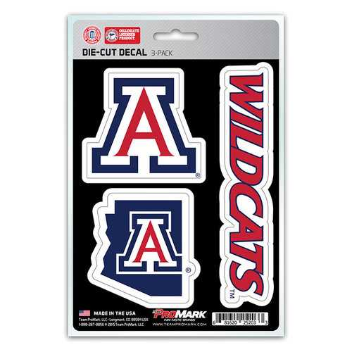 Arizona Wildcats Decal Die Cut Team 3 Pack