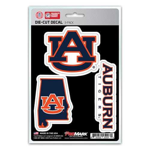 Auburn Tigers Decal Die Cut Team 3 Pack