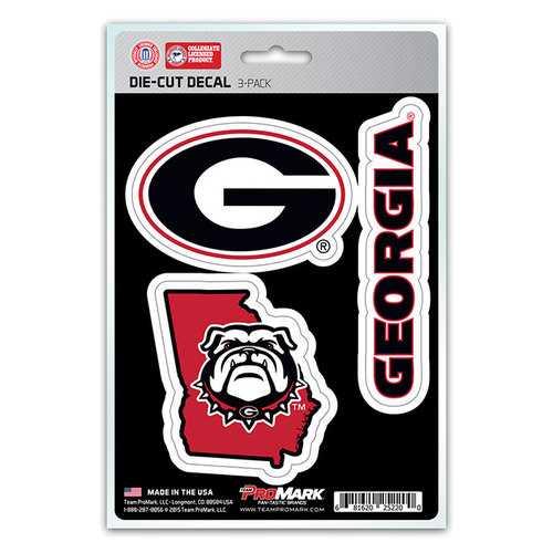 Georgia Bulldogs Decal Die Cut Team 3 Pack