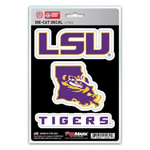 LSU Tigers Decal Die Cut Team 3 Pack
