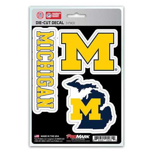 Michigan Wolverines Decal Die Cut Team 3 Pack