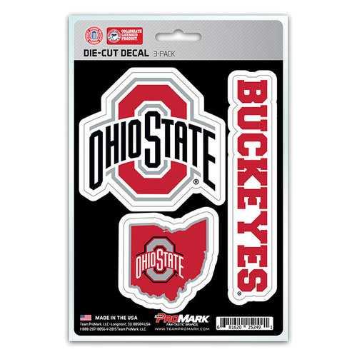 Ohio State Buckeyes Decal Die Cut Team 3 Pack