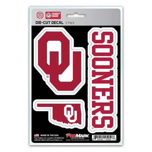 Oklahoma Sooners Decal Die Cut Team 3 Pack