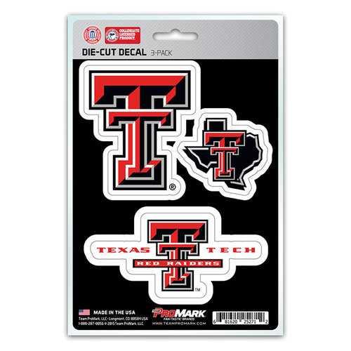 Texas Tech Red Raiders Decal Die Cut Team 3 Pack