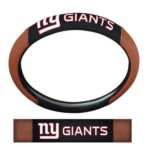 New York Giants Steering Wheel Cover Premium Pigskin Style