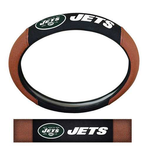 New York Jets Steering Wheel Cover Premium Pigskin Style - Special Order