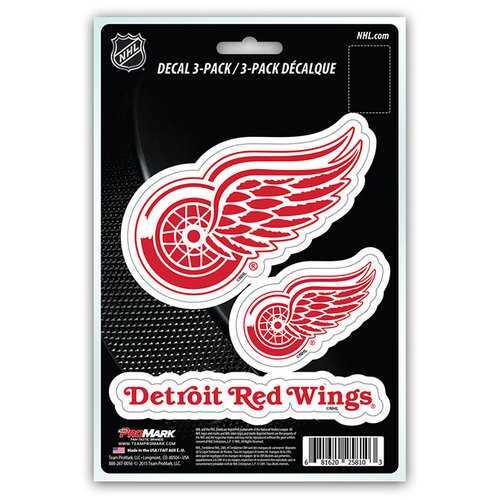 Detroit Red Wings Decal Die Cut Team 3 Pack