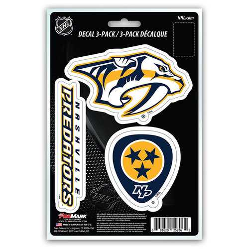 Nashville Predators Decal Die Cut Team 3 Pack