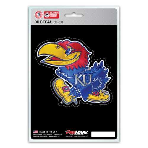 Kansas Jayhawks Decal 5x8 Die Cut 3D Logo Design