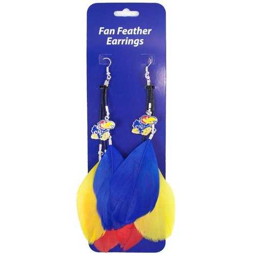 Kansas Jayhawks Team Color Feather Earrings