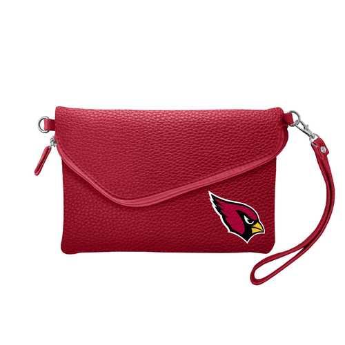 Arizona Cardinals Purse Pebble Fold Over Crossbody Dark Red