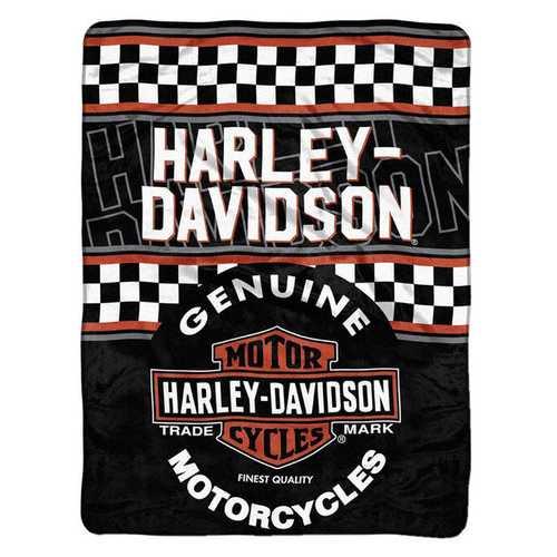 Harley-Davidson Blanket 46x60 Micro Raschel Finish Line Design