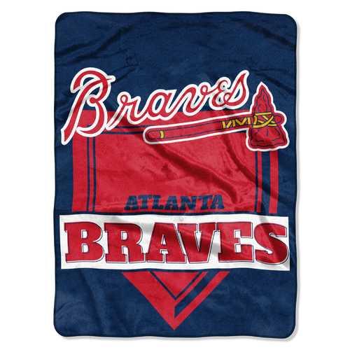 Atlanta Braves Blanket 60x80 Raschel Home Plate Design Special Order