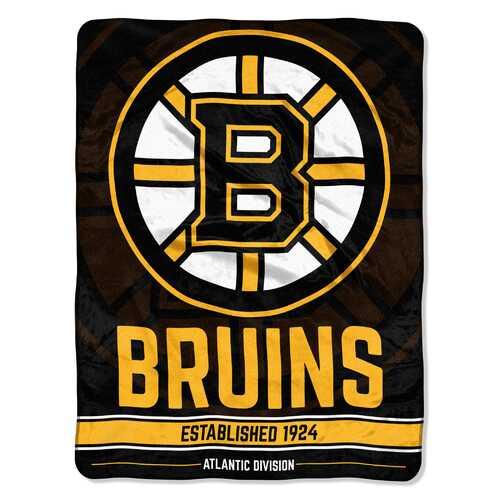 Boston Bruins Blanket 46x60 Micro Raschel Breakaway Design Rolled Special Order