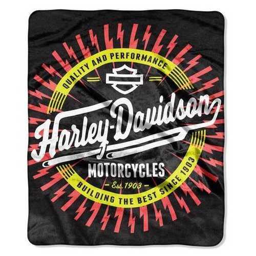 Harley-Davidson Blanket 50x60 Raschel Lightning Ride Design