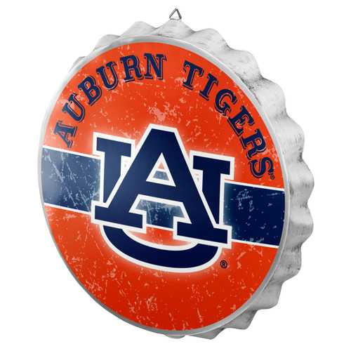 Auburn Tigers Sign Bottle Cap Style Distressed