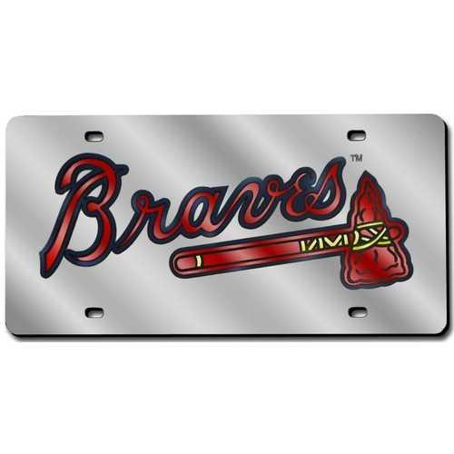 Atlanta Braves License Plate Laser Cut Silver