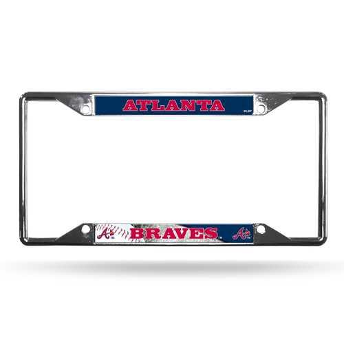 Atlanta Braves License Plate Frame Chrome EZ View