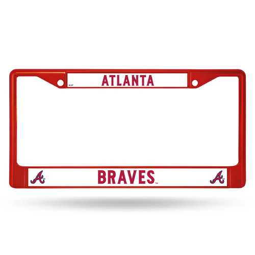 Atlanta Braves License Plate Frame Metal Red