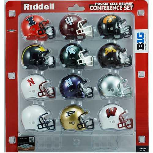 Big 10 Conference Set Riddell Pocket Pro VSR4 Style 2013