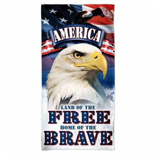 America Towel 30x60 Beach Style Land of the Free Home of the Brave Design Special Order