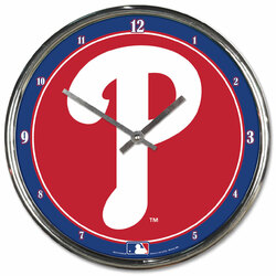 Philadelphia Phillies Clock Round Wall Style Chrome Special Order