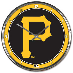 Pittsburgh Pirates Clock Round Wall Style Chrome