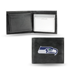 Seattle Seahawks Wallet Billfold Leather Embroidered Black