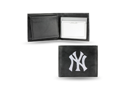 New York Yankees Wallet Billfold Leather Embroidered Black