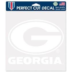 Georgia Bulldogs Decal 8x8 Perfect Cut White