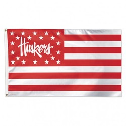 Nebraska Cornhuskers Flag 3x5 Deluxe Stars and Stripes - Special Order