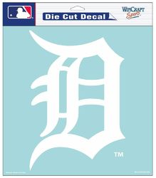 Detroit Tigers Decal 8x8 Die Cut White