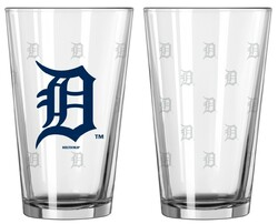 Detroit Tigers Satin Etch Pint Glass Set