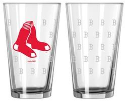 Boston Red Sox Satin Etch Pint Glass Set