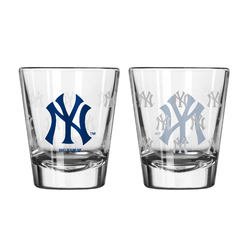 New York Yankees Shot Glass Satin Etch Style 2 Pack