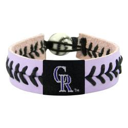 Colorado Rockies Bracelet Team Color Lavender Leather Black Thread Baseball