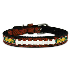 Green Bay Packers Pet Collar Classic Football Leather Size Toy