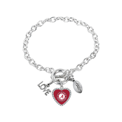 Alabama Crimson Tide Bracelet Charmed Sport Love Football