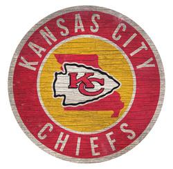 Kansas City Chiefs Sign Wood 12 Inch Round State Design