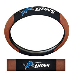 Detroit Lions Steering Wheel Cover Premium Pigskin Style