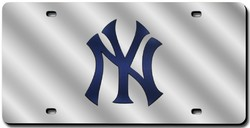 New York Yankees License Plate Laser Cut Silver